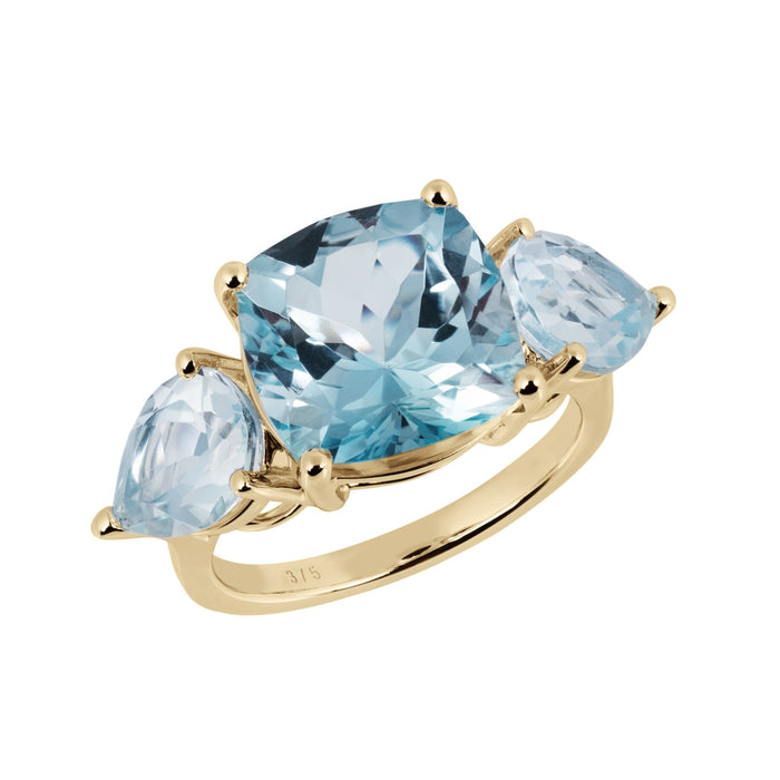 Aqua Gold Sky Blue Topaz Cushion Ring