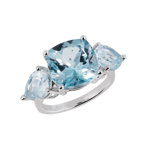 Aqua White Gold Sky Blue Topaz Cushion Ring