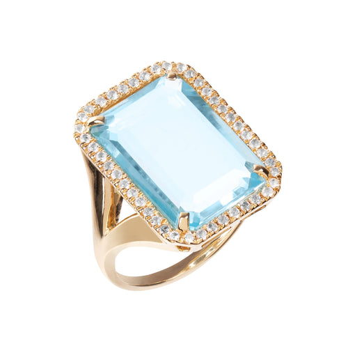Electra Gold Sky Blue Topaz Ring