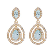 Load image into Gallery viewer, Aqua Gold Sky Blue Topaz Earrings