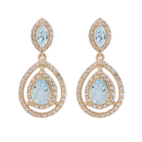 Aqua Gold Sky Blue Topaz Earrings