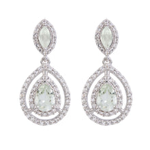 Load image into Gallery viewer, Aqua Silver Green Amethyst Earrings