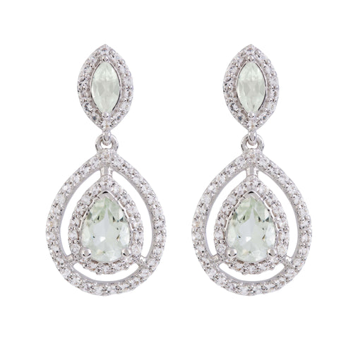 Aqua Silver Green Amethyst Earrings
