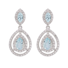 Load image into Gallery viewer, Aqua Silver Sky Blue Topaz Earrings