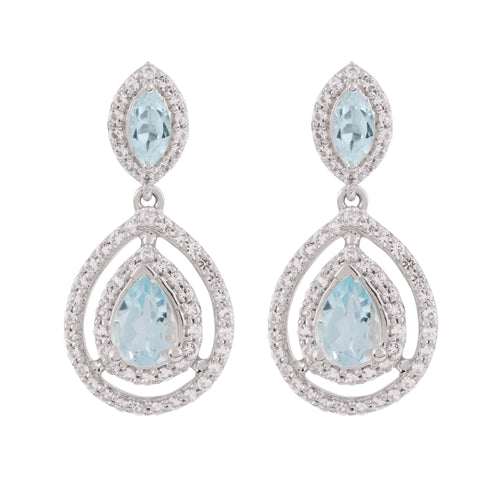 Aqua Silver Sky Blue Topaz Earrings