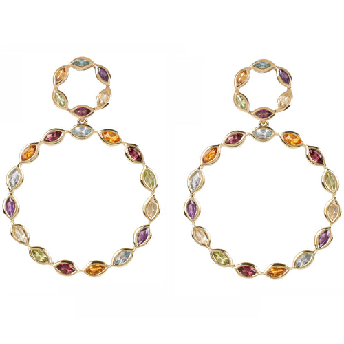Halcyon Gold Multicolour Gemstone Earrings