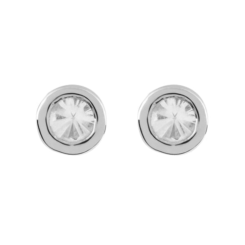 Disco White Gold White Topaz Stud