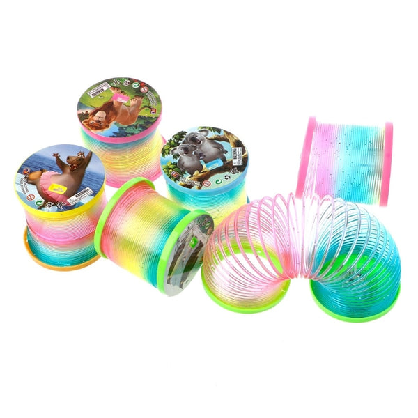 Classic Toy Kaleidoscope Rainbow Ring Folding Plastic Spring Coil Toy