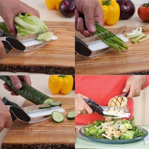 Clever Cutter 2-in-1 Food Chopper Multi-functional Kitchen Vegetable Scissor Buy 1 Get 1 Free