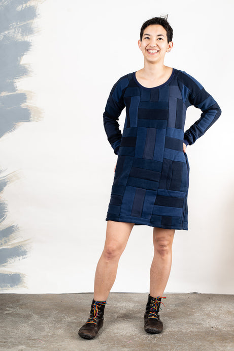 Tonlé | Angkor Sweatshirt Dress in Navy