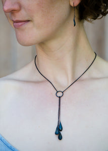 CG Jewelry | Triple Drop Necklace in Oxidized Sterling Silver