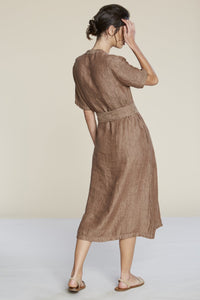 Filosofia | Linen Gauze Alyssa Dress in Auburn