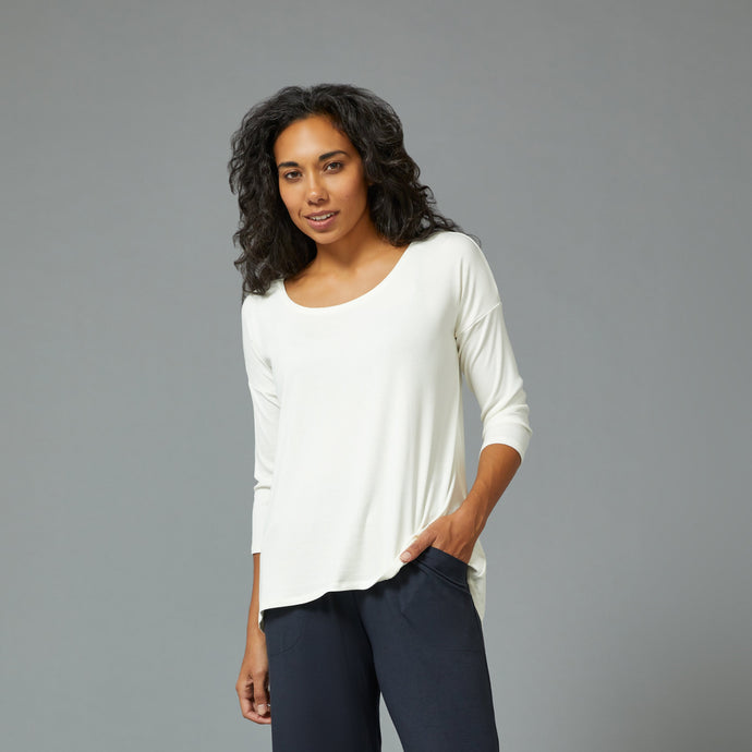 Sarah Liller | Laurel 3/4 Sleeve Top in Natural
