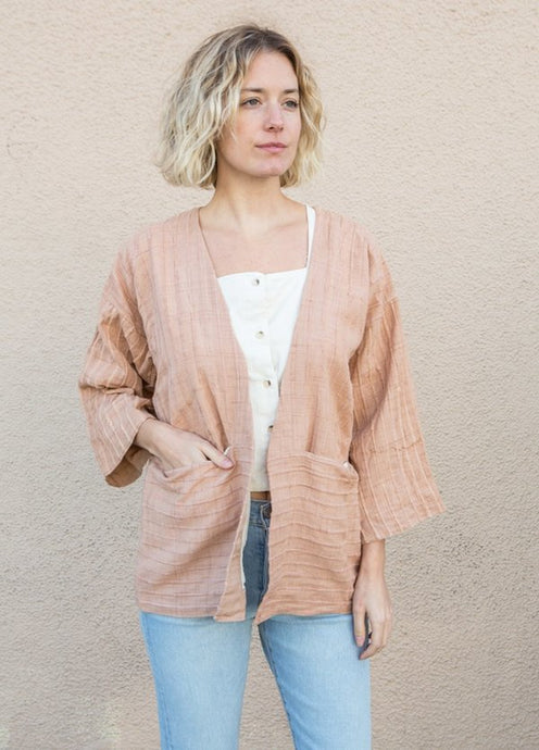 Tonle | Handwoven 3/4 Sleeve Jacket in Palm