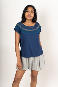 Tonle | Keang Top in Navy with Sunburst Embroidery