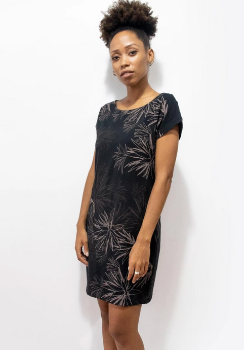 Tonle | T-shirt Dress in Black w/ Cactus