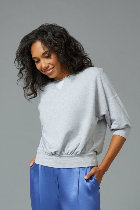 Sarah Liller | Zinnia Sweatshirt in Light Heather Grey