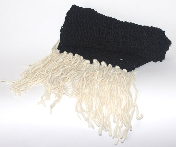 World Peaces | Loose Weave Merino Wool Scarf in Black w/ White Fringe