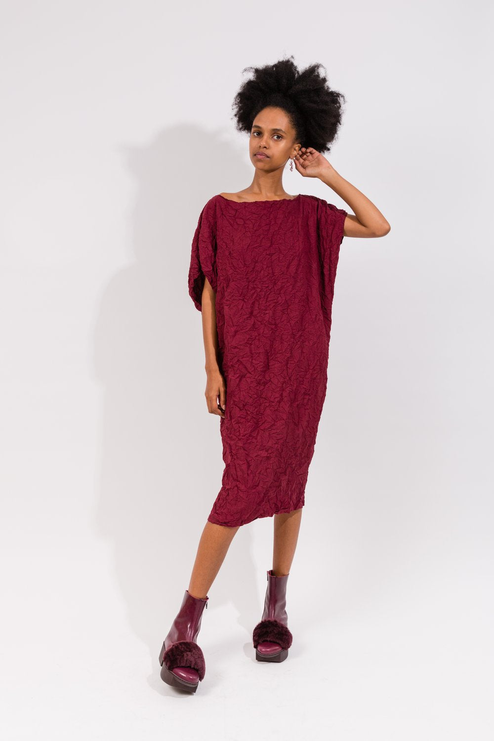 Undesigned | Moth Andy Dress in Xanadu in Burgandy