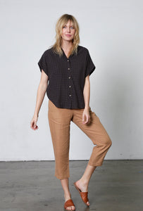 It Is Well | Short-Sleeved Boxy Button Down in Dobby