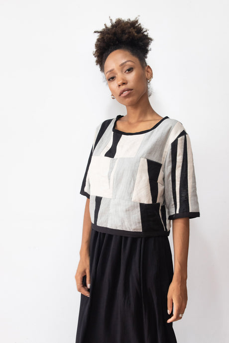Tonle | Kita Top in Black, Cream and Grey