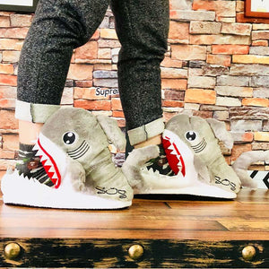 Winter Funny Shark Shape Furry Slippers Shallows