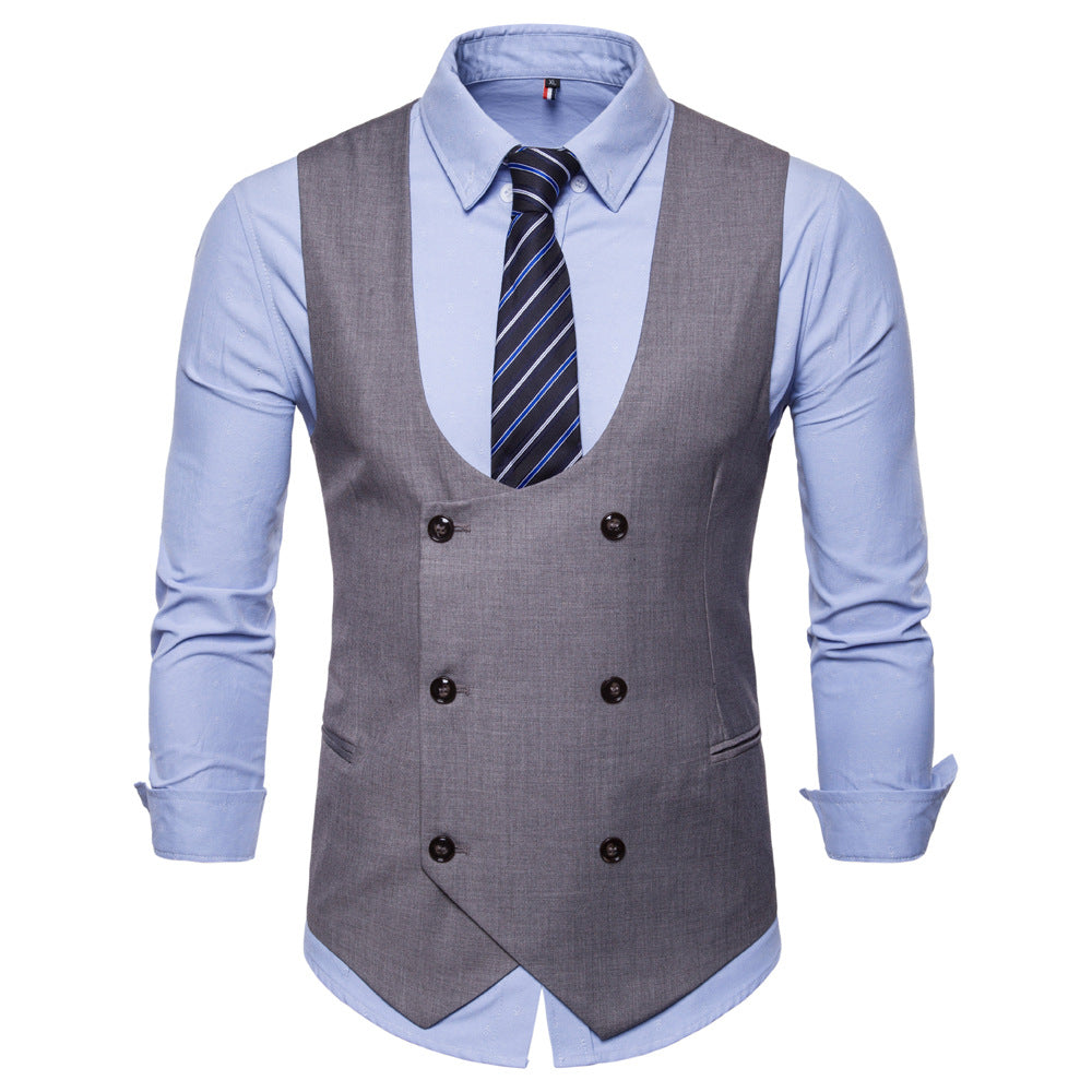 Men's Double-breasted Solid Color Vest