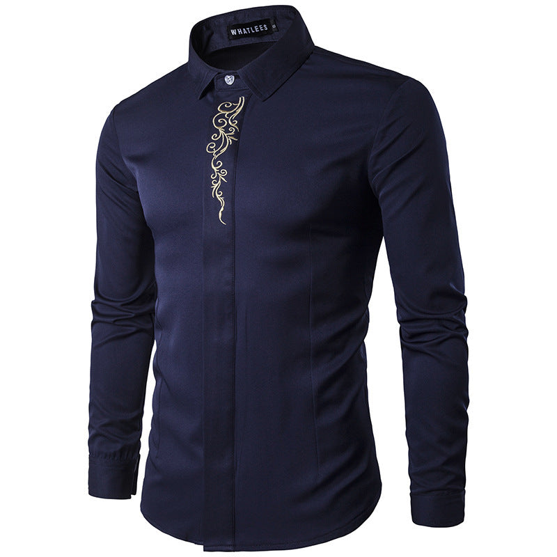 Men Embroidered Multicolor Base Printed Shirt