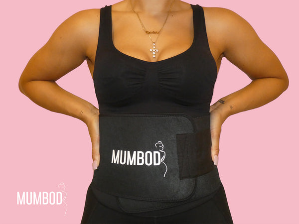 Mumbod Sweat Belt providing the necessary back support during any activity from causal food shopping to exercise. The neoprene rubber also raises the body's core temperature causing perspiration around the stomach area, reducing water weight.