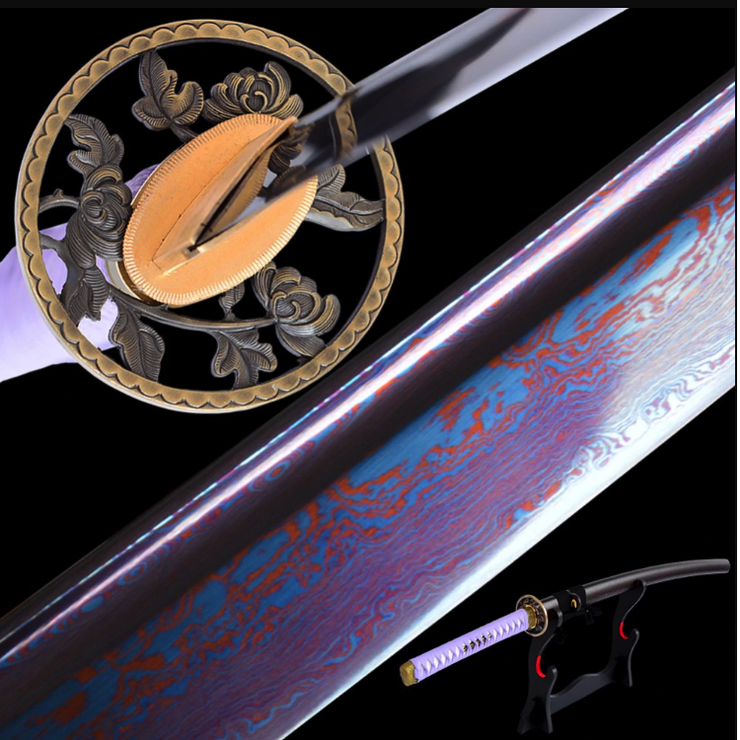Qiu Folded Blue Steel Katana Samurai Sword