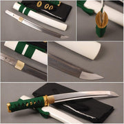 Green Folded Carbon Steel Tanto Sword