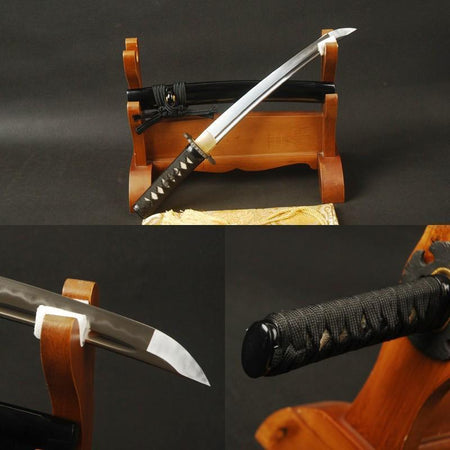 Knight Clay Tempered Folded Carbon Steel Tanto Sword