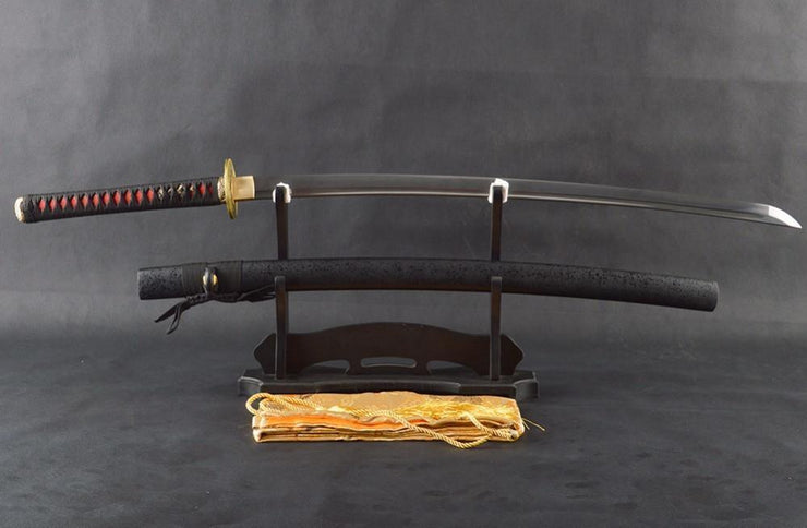 Liqiu Folded Red Steel Katana Samurai Sword