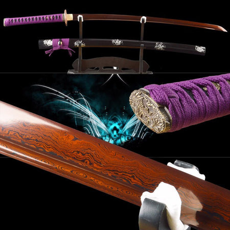 Liu Folded Red Steel Katana Samurai Sword