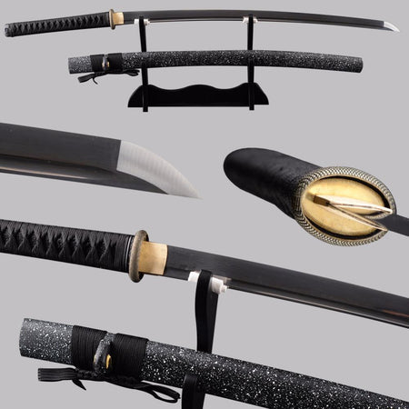 Meifen Folded Black Steel Katana Samurai Sword