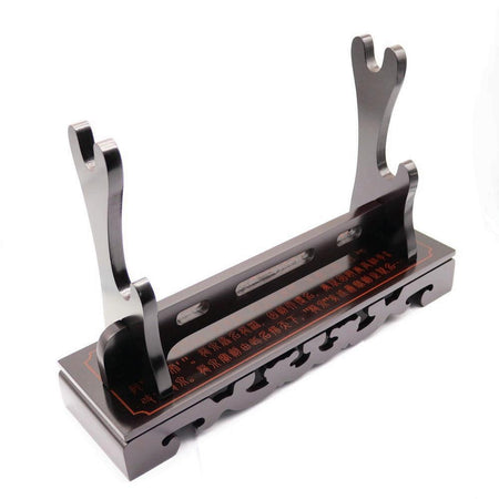 Wooden Sword Stand For Katana, Wakizashi, Tanto with Lacquered Finish - Double