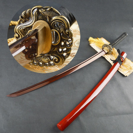 Mingzhu Folded Red Steel Katana Samurai Sword