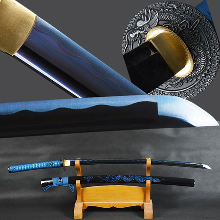 Ryū Carbon Steel Blue Blade Samurai Katana with Dragon Sheath