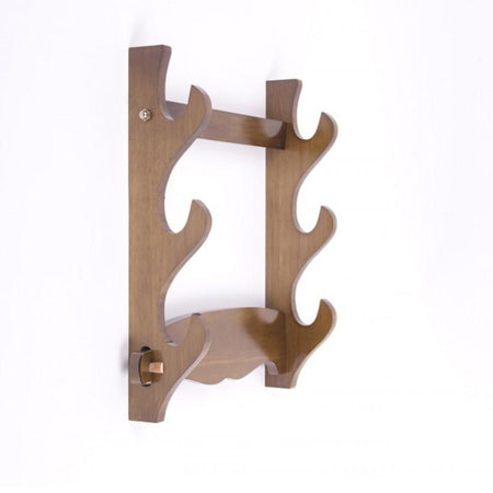 Natural Wood Wall Mount Sword Holder For Katana, Wakizashi and Tanto - Triple