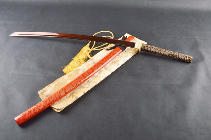 Linqin Folded Red Steel Katana Samurai Sword