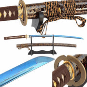 Rou Folded Blue Steel Katana Samurai Sword