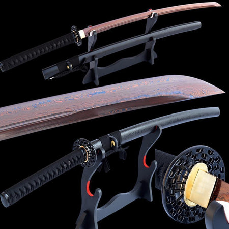 Rùfen Folded Red Steel Katana Samurai Sword