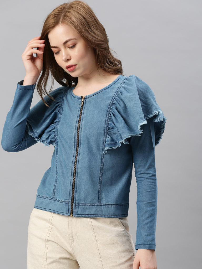 FRILLED SLEEVE ZIPPER FRONT
