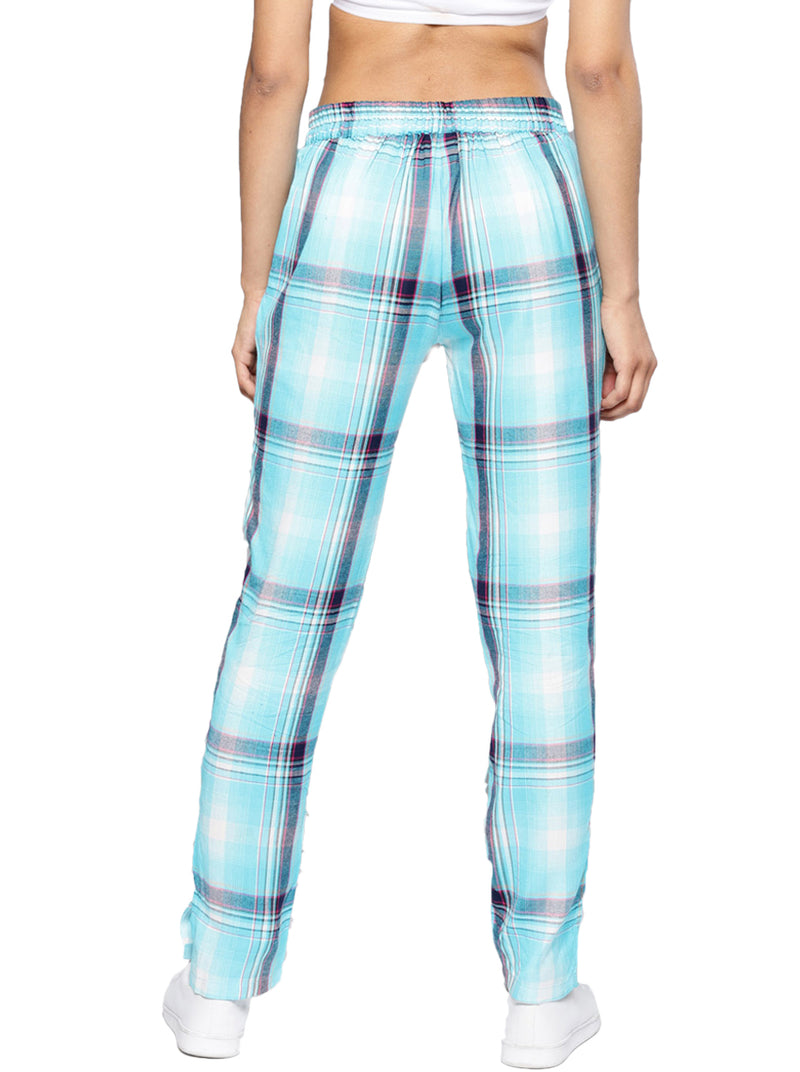 Blue Relaxed Loose Fit Checked Regular Trousers