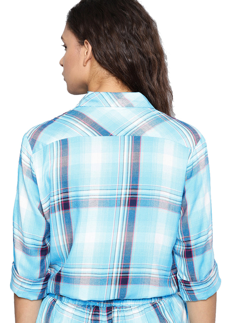 Blue Regular Fit Checked Casual Shirt
