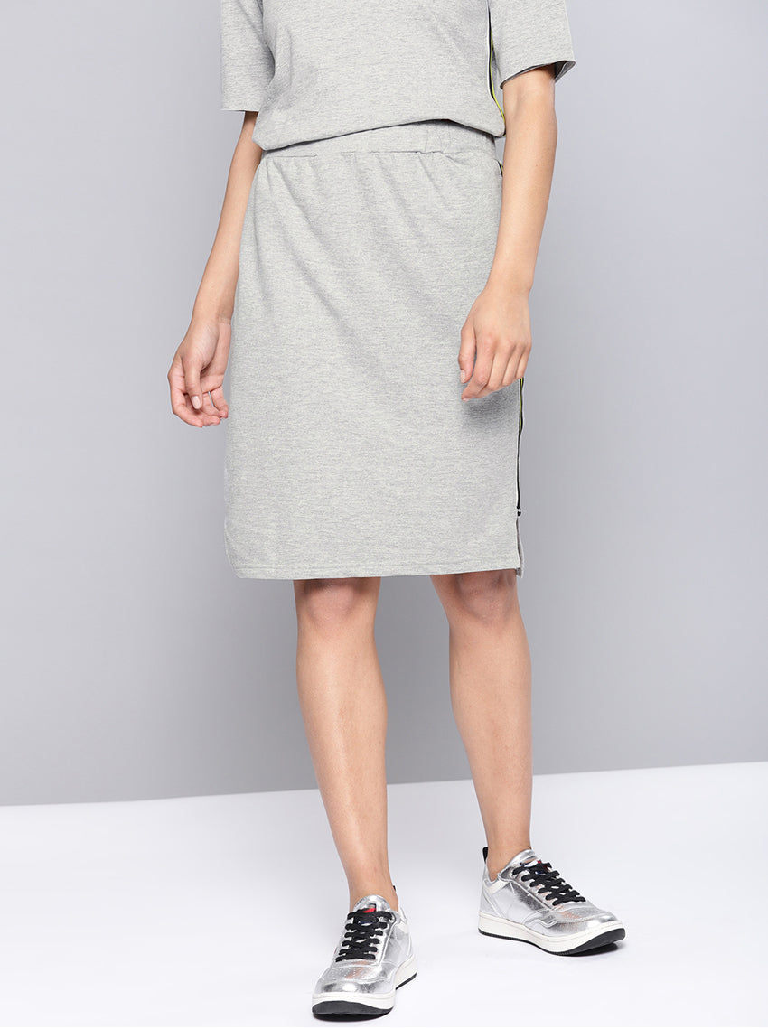Grey Melange Straight Skirt