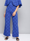 Blue Relaxed Loose Fit Checked Parallel Trousers