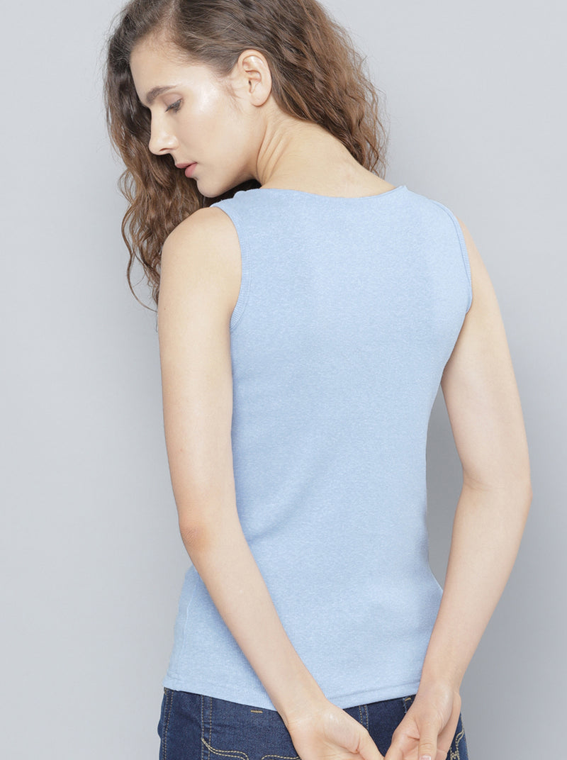 Blue Solid Top Sleeveless