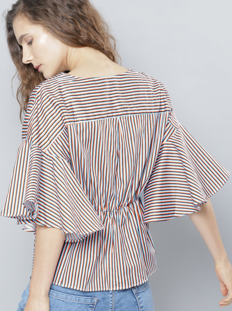Blue & Black Striped Top