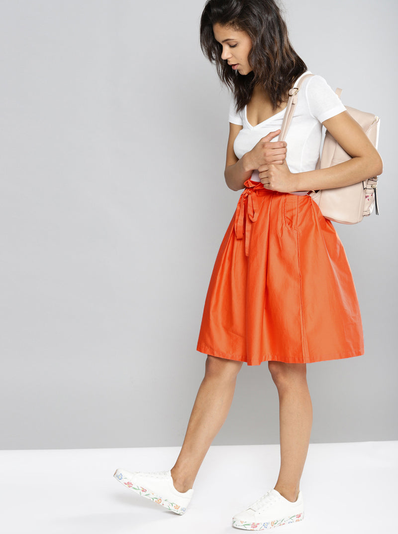 Orange Solid A-Line Skirt